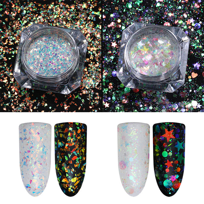 AB Color Nail Glitter Flakies Irregular Star Round Iridescent Sequins Powder Chrome