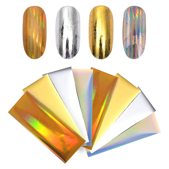 8Pcs Laser Starry Nail Foils Holographic Gold Silver Nail Stickers Paper Decals Manicures 4*10cm