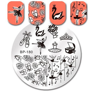 Round Nail Stamping Plate Geometry Catcher Feather Ballet Swan Dream Flame Flower Manicure Nail Art Image Template - Goamiroo Store