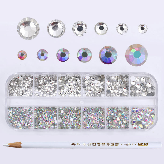 1 Box AB Color Nail Rhinestone with Dotting Pen Clear Flat Bottom Multi-size Manicure