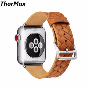 Genuine Cow Leather Embossed Woven Strap Bracelet Men/women Watchband For Apple Watch Series 1/2/3 38/42Mm Size Thormax - Goamiroo Store