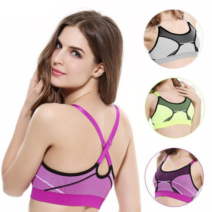 Women Convertible Straps Shockproof Sports Bras, Quick Dry Seamless Push Up