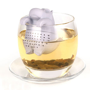 Cute Kawaii Hippo Shape Silicone Tea Infuser Coffee Loose Leaf Strainer Bag - Goamiroo Store