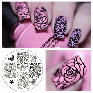 Rose Flower Nail Art Stamping Template Image Plate Bp-73 Nail Stamping Plates Manicure Stencil Set - Goamiroo Store