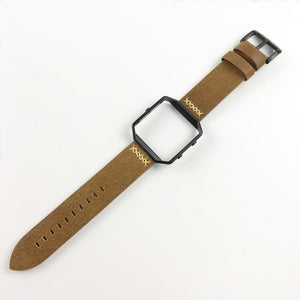 Thormax For Fitbit Blaze With Stainless Steel Frame Genuine Leather Strap Western Cowboy Style Replacement Watchband Bracelet - Goamiroo