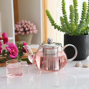 Good Clear Borosilicate Glass Teapot With 304 Stainless Steel Infuser Strainer - Goamiroo Store