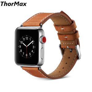 Thormax Genuine Leather Bracelet Band For Apple Watch Series 1/2/3 Watchband Replacement Strap Men/women 38/42Mm 6 Colors - Goamiroo Store