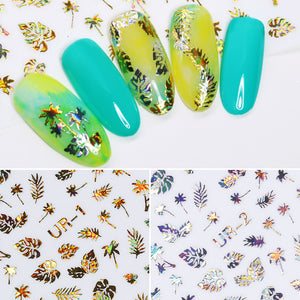 1pc 3D Nail Sticker Holographic Gold Metallic Adhesive Transfer Decals Coconut Tree Leaf Manicure Stickerss-GoAmiroo Store