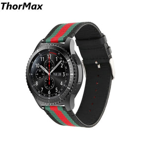 Thormax For Samsung Gear S3 Watch Band Nylon Style With Leather Sports Replacement Strap Red And Green Stripes 22Mm - Goamiroo Store