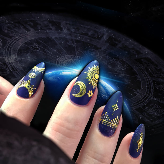 1 Sheet Ultrathin 3D Nail Stickers Star/Moon Image Transfer Decal Gold Color 10.3*8cm Adhesives