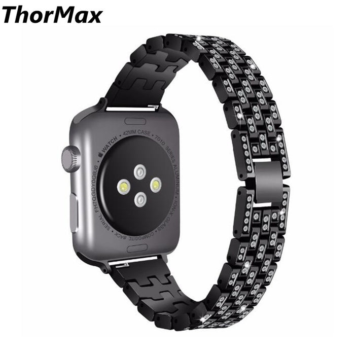 ThorMax Glistening Diamond Bling Watch Band Stainless Steel Bracelet Strap Wristband for Apple watch Series 1/2/3 38/42mm