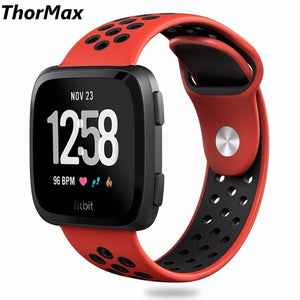 Thormax For Fitbit Versa Bands Sport Silicone Watchband Replacement Breathable Strap Bands For New Fitbit Versa Smart Watch - Goamiroo Store