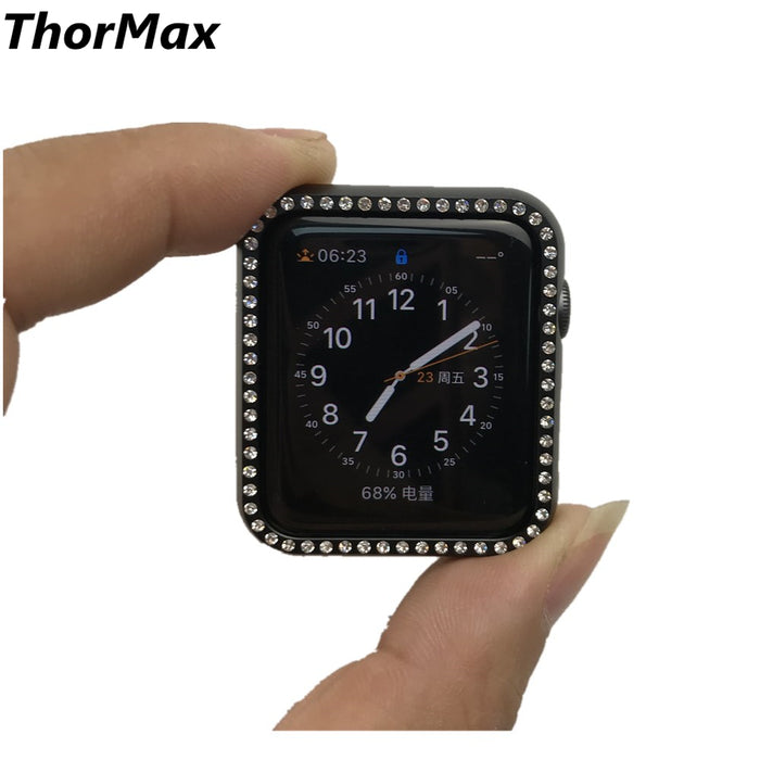 THORMAX Metal frame Watch Protect Case Shinny Bling Diamond-embedded Cover For Apple Watch series 1/2/3 Watch Accessories