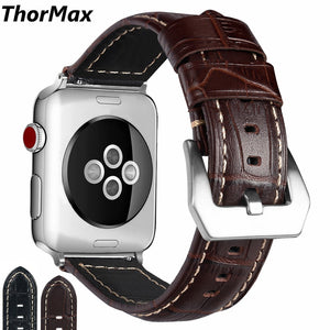 Thormax For Apple Watch Bamboo Texture Lines Watch Bracelet 100% Genuine Leather Band Strap For Iwatch Series 3 2 1 42Mm 38Mm - Goamiroo