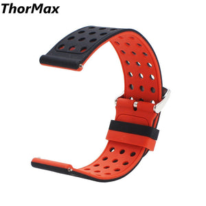 Thormax For Samsung Gear S3 Double Color Silicone Watchband With Holes Sport Strap Replacement Strap Band 22Mm - Goamiroo Store