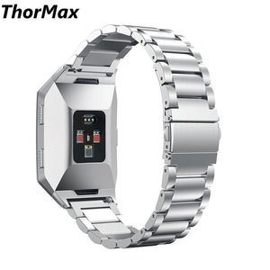 Thormax For Fitbit Ionic Fashion Watchband Link Buckle 316L Stainless Steel Watchband Bracelet Band Silver Black Golden - Goamiroo Store
