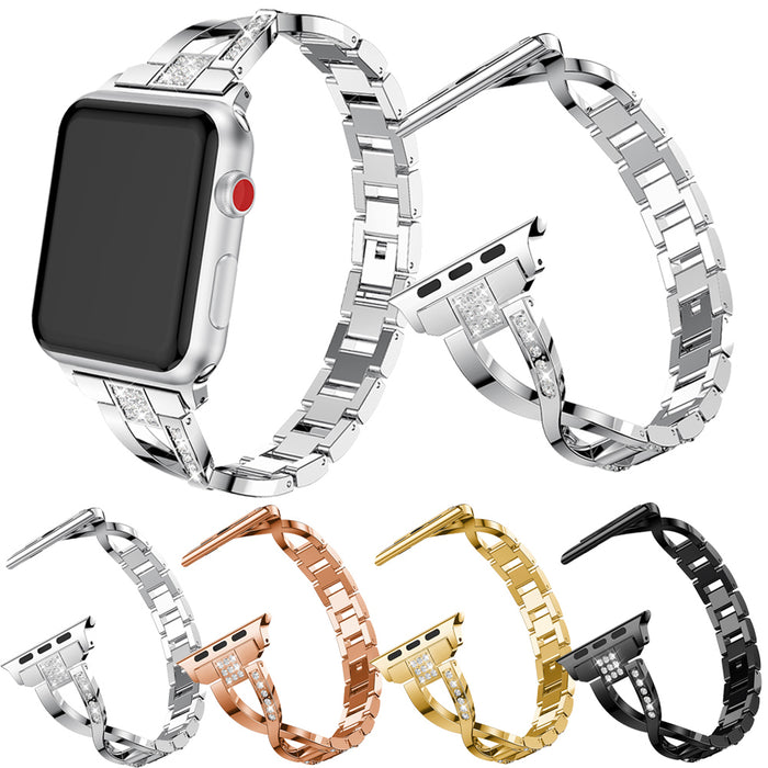 ThoMax X-lines Shiny Diamond Bracelet Link Buckle Stainless Steel Strap Watchband For Apple Watch 38/42mm Series 1/2/3 black
