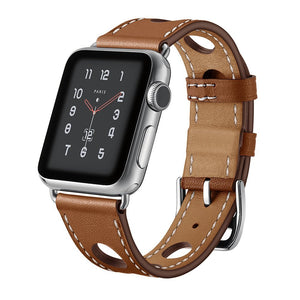 Thormax Genuine Leather Breathable Holes Bracelet For Apple Watch Band Strap 42/38Mm Iwatch Series1/2/3 Band Belt Watchband - Goamiroo Store