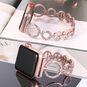 Stainless Steel O-Link Band 38mm/40mm Glister Bands Compatible Apple Watch Series 4 Series 3/2/1 Women Diamond Iwatch Strap