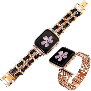for Apple Watch 5 4 40mm 44mm Watchbands Stainless Steel Chain With Leather Bracelet Strap band for iwatch Series 3 2 38mm 42mm