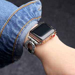 Stainless Steel Leather Bracelet for Apple Watch Strap Handmade Natural Genuine Leather strap For iWatch 38mm 42mm 40mm 44mm