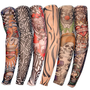 8 Pcs 100% Nylon Elastic Fake Temporary Tattoo Sleeve Arm Stockings tattoo-GoAmiroo Store