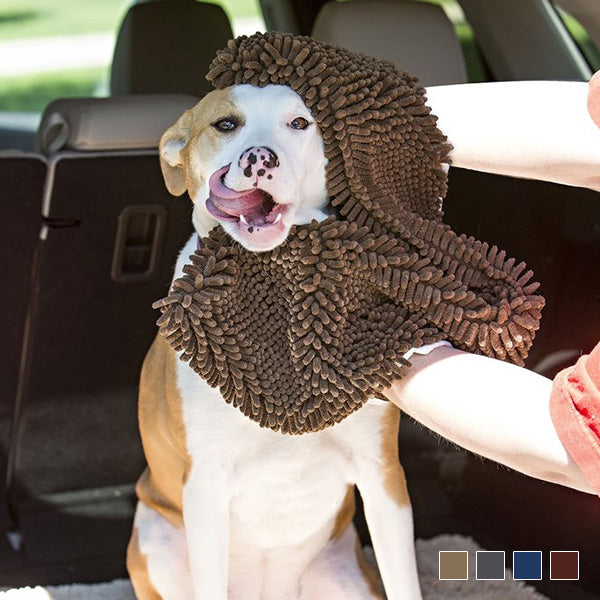 Microfiber Chenille Dog Towel with Hand Pockets