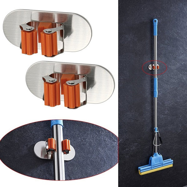 2 Pcs Self Adhesive Mop and Broom Hooks