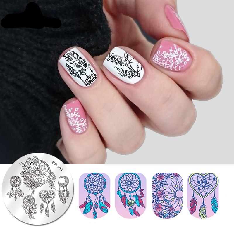 Round Nail Stamping Plate Geometry Catcher Feather Ballet Swan Dream