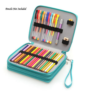 124 Holders Large Capacity PU leather Pencil Bag-GoAmiroo Store