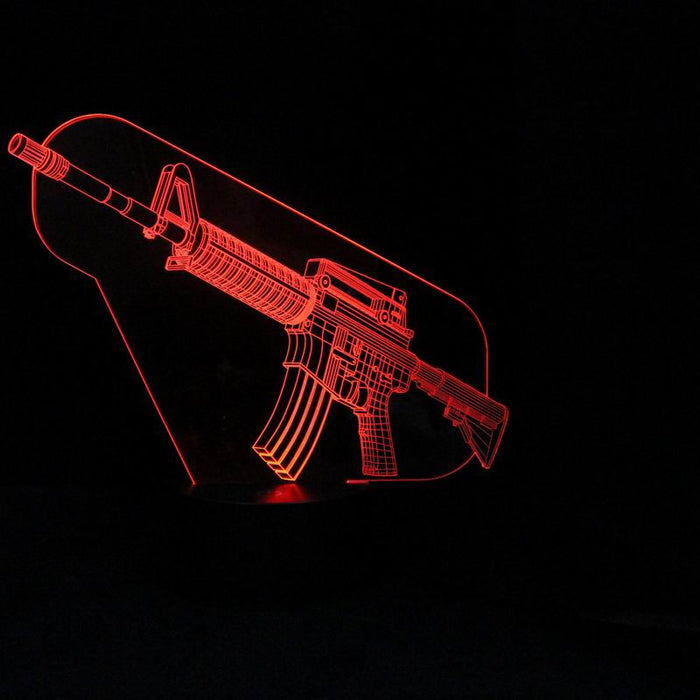 Cool Machine Gun shape 3D LED Lamp