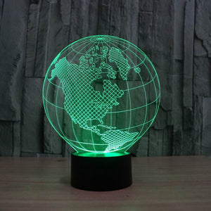 America Map Shape Globe Shape 3D Led Lamp - Goamiroo Store