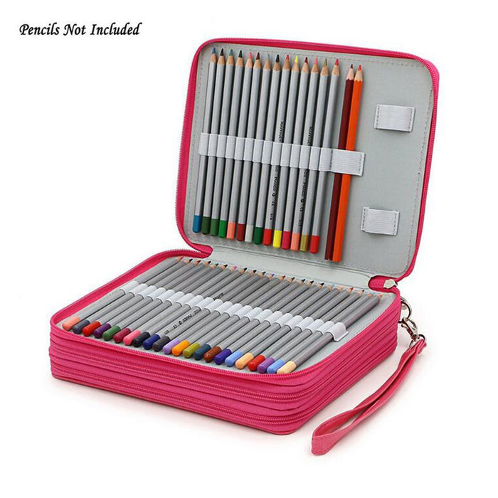 124 Holder 4 Layer Portable PU Leather School Pencils Case