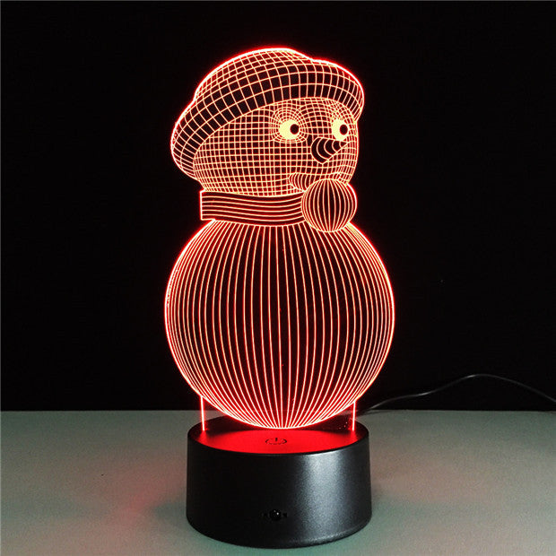 Cute Snowman 3D LED Lamp-GoAmiroo Store