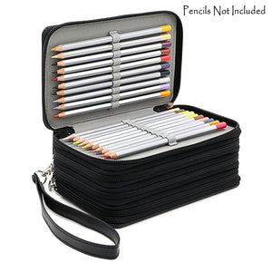 Hotsale 72 Holders 4 Layers Handy Pu Leather School Pencils Case - Goamiroo Store