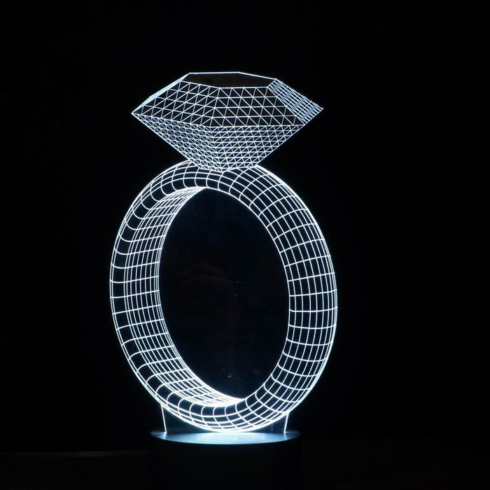 Diamond Ring Shape 3D LED Lamp