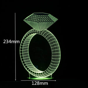 Diamond Ring Shape 3D Led Lamp - Goamiroo Store