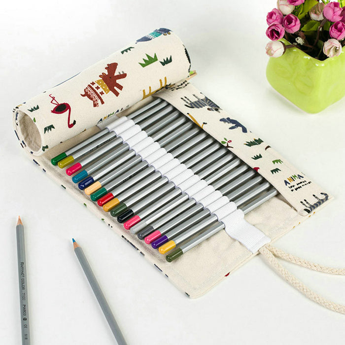 36 48Hole Handmade Canvas School Pencil Case Roll Pouch