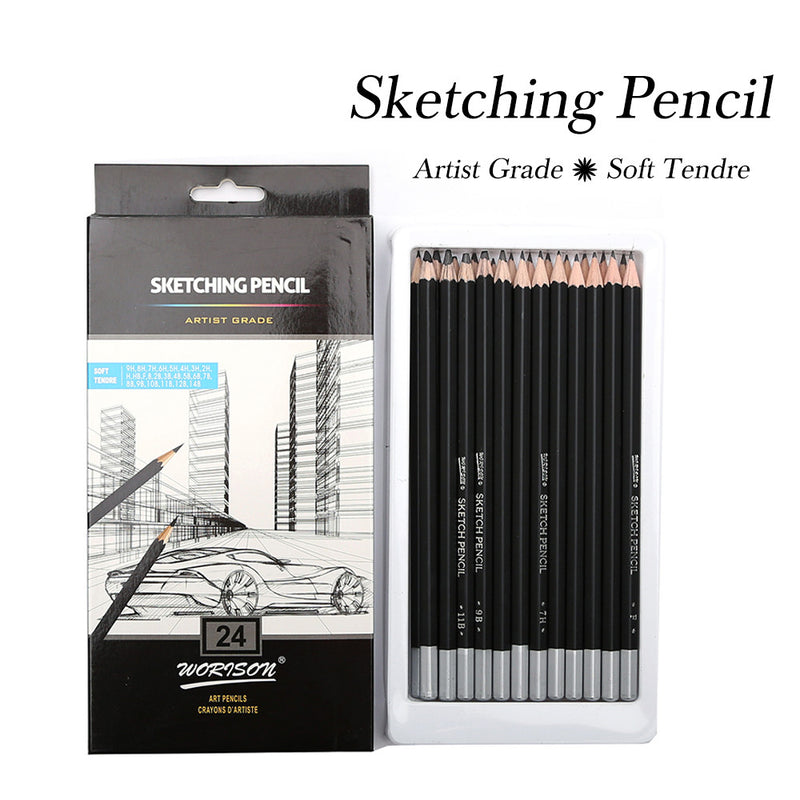 Best Quality 12/24Pcs 9H-14B Set Drawing Sketching Pencil Soft Standard Pencils-GoAmiroo Store