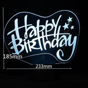 Happy Birthday Sign 3D Led Lamp - Goamiroo Store