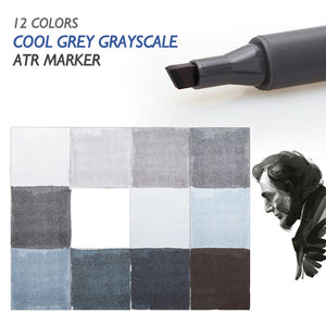 Sta 12 Cool Grey Colors Art Markers Grayscale - Goamiroo Store