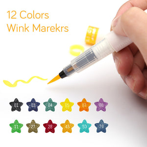 12 Colors Art Marker Wink of Stella Brush Glitter Markers-GoAmiroo Store
