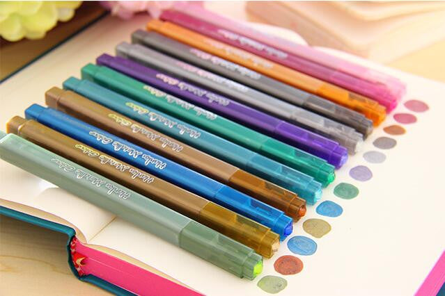 12 pcs/Lot Metallic Color Drawing Art Marker Pen