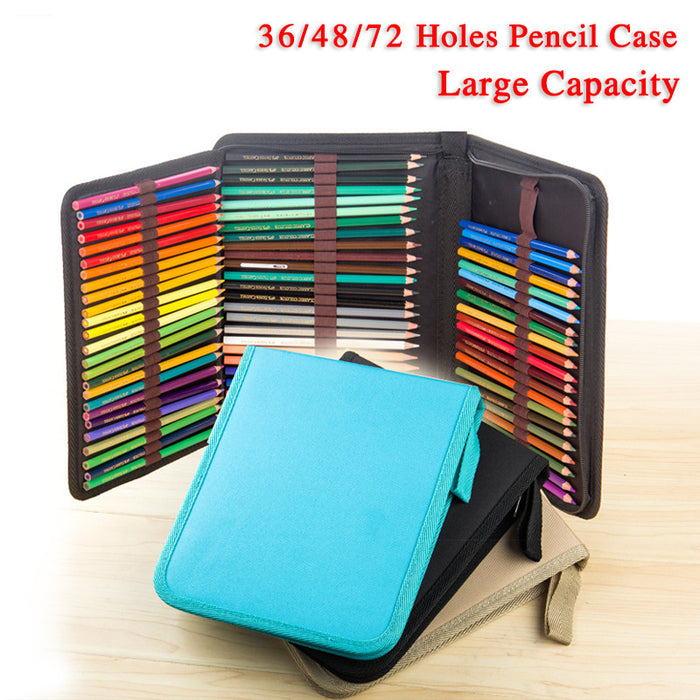 36/48/72 Holes Folded Canvas School Pencils Case
