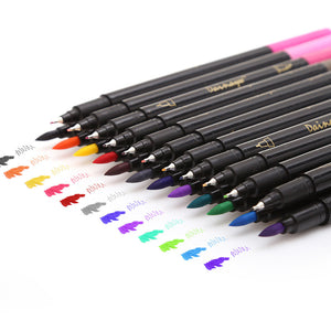 24 Colors Fineliner and Brush Twin Tip Marker Set, 0.4mm Fineliner Tip & 1-2mm Brush Tip-GoAmiroo Store