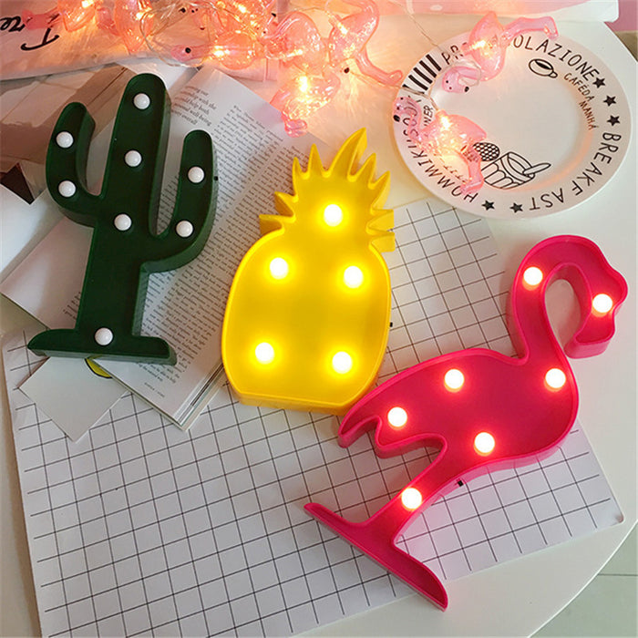 3D LED Flamingo Lamp Pineapple Cactus Decorations Nightlight