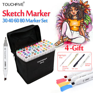 Touchfive 30/40/60/80Colors Art Markers Set Sketch Marker - Goamiroo Store