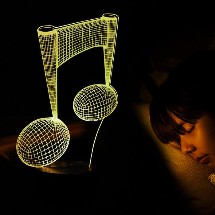 Music Notes Pattern 3D LED Lamp