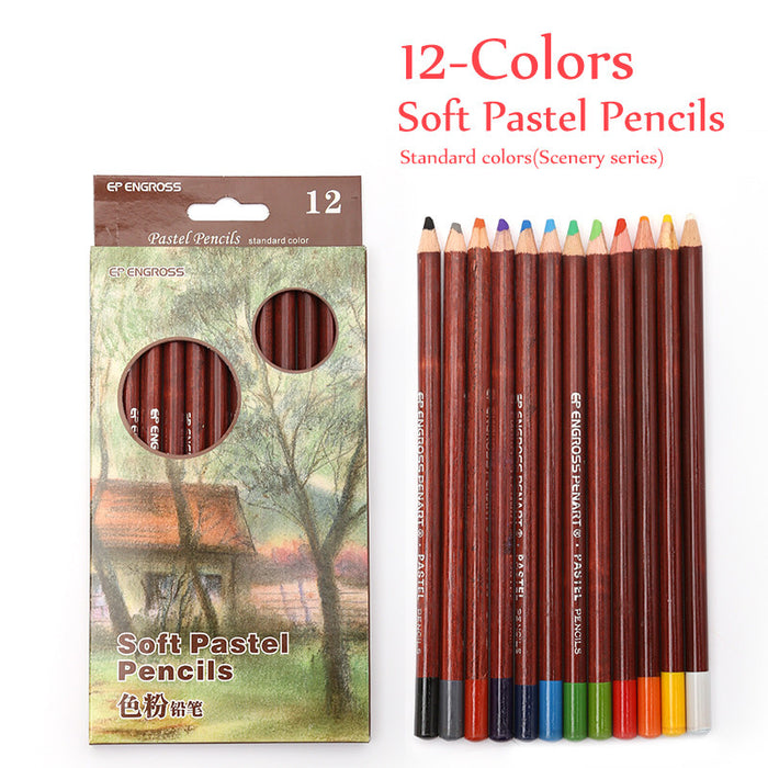 12 Non-toxic Professional Soft Pastel Pencils