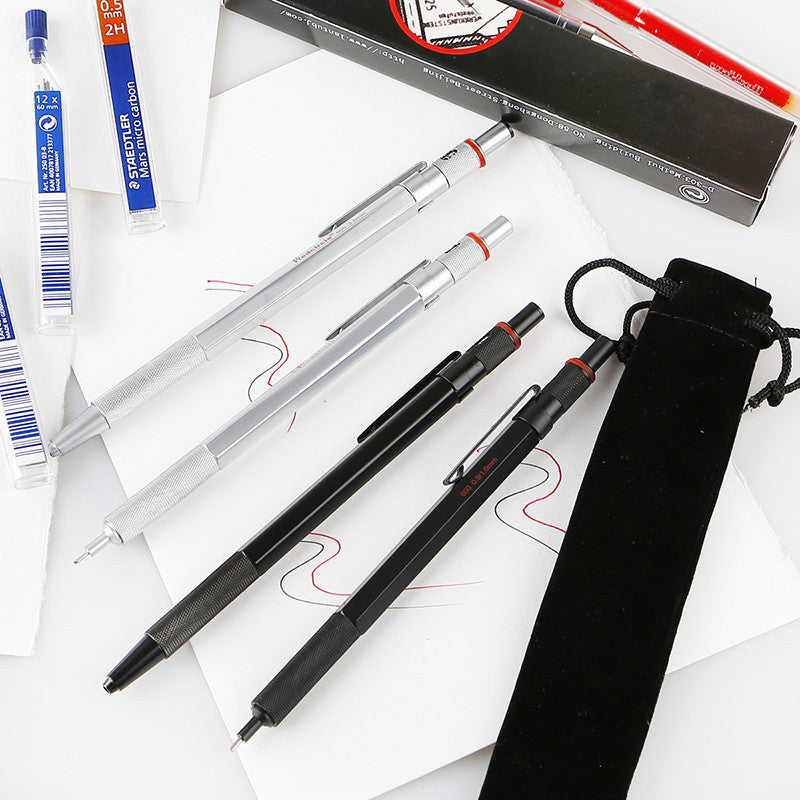0.5/0.7/0.9/2mm Mechanical Automatic Pencil RedCircle Drafting Metal Pencil-GoAmiroo Store